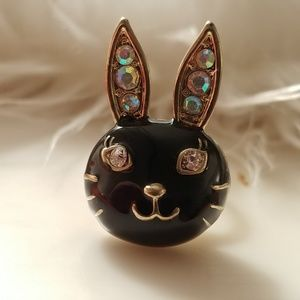 Anna Sui Black Bunny Rabbit Ring Adjustable Size